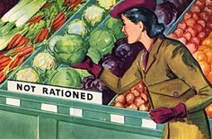"""U.S.: """"FRESH FRUITS AND VEGETABLES are not rationed. Use them instead of rationed foods whenever possible."""" (February 1943)"""