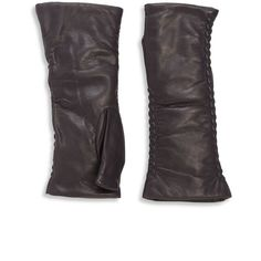 Saks Fifth Avenue Collection Silk-Lined Leather Opera Gloves (58 NZD) ❤ liked on Polyvore featuring accessories, gloves, gray gloves, long grey gloves, long leather gloves, real leather gloves and grey leather gloves