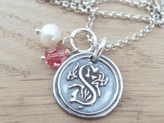 Wax Seal Sterling Silver Initial Necklace