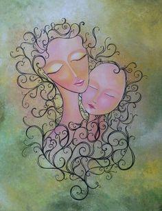 Mummy love - acrylic on canvas