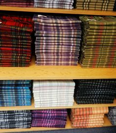 Tartan cashmere scarves everywhere in the shops along The Royal Mile, Edinburgh.