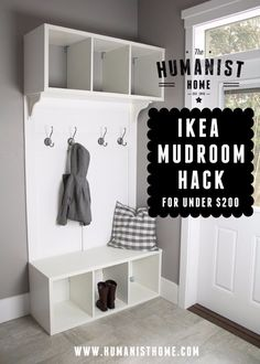 Best IKEA Hacks and DIY Hack Ideas for Furniture Projects and Home Decor from IKEA - IKEA Mudroom Hack - Creative IKEA Hack Tutorials for DIY Platform Bed, Desk, Vanity, Dresser, Coffee Table, Storage and Kitchen, Bedroom and Bathroom Decor http://diyjoy.com/best-ikea-hacks
