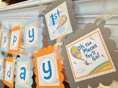 Oh The Places You'll Go Inspired Happy Birthday Collection -Orange Chevron Pastel Green Stripes Baby Blue and Turquoise accents on Etsy, $28.00