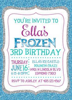 Frozen Birthday Invitation, Blue Glitter, Cute frozen invitation, blue, silver, white. 3rd birthday idea. Frozen 3rd Birthday, Frozen Birthday Invitations, Cute Frozen, Blue Glitter, Youre Invited, Rsvp, Birthday Parties, Party Ideas, Silver