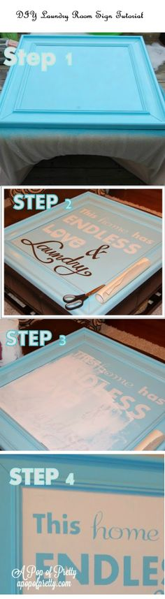 DIY Laundry Room Sign Tutorial (I would just leave it as is before painting the letters...)