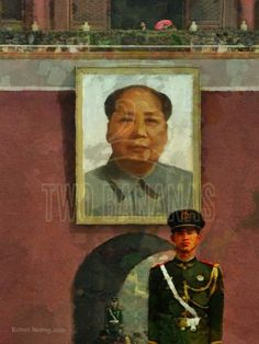 CHAIRMAN MAO OVERLOOKING TIANANMEN SQUARE – The Forbidden City and Tainanmen Square are at the heart of Beijing. Approaching the main gate of the Forbidden City one passes by many guards and under this large portrait of Chairman Mao. Painting by artist Richard Neuman represented by Two Bananas Art. Giclee $21.00 #photopainting #mao #forbiddencity #travelpainting #impressionism