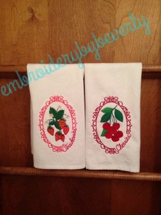 Machine Embroidered Strawberry and Cherry by embroiderybybeverly