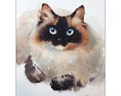 Watercolor Cat Siamese - Original Painting 8x10 inches Cats Pets Animals