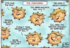 """Trump: I don't believe you really need that many ventilators .Trump: """"I don't believe you need or ventilators. Trump Cartoons, Political Cartoons, Political Art, Trump Lies, Flu, Current Events, Dumb And Dumber, Warm Weather, Just In Case"""