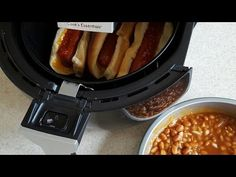 Air Fryer Nathans Hot Dogs With Airfryer Baked Beans cook's Essentials - YouTube