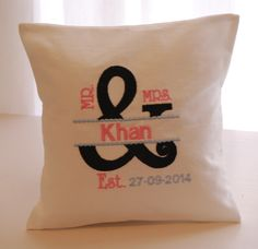 Mr. and Mrs. ring pillow. Custom in your choice of embroidery thread. louise@heavenlygarters.co.za www.heavenlygarters.co.za Ring Pillows, Embroidery Thread, Reusable Tote Bags, Company Logo, Logos, Logo, Ring Bearer Pillows