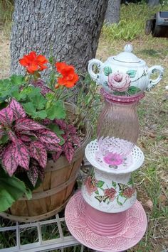 "Recycled Garden Yard Art Totem - Teapot Garden Stake -""Roses for Laura ...No link... inspiration only. by taylor"