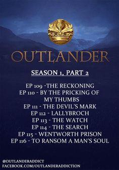 Episode titles for the 2nd half of OUTLANDER Season 1