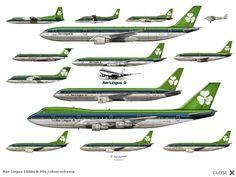 Flota Aer Lingus con librea ochentera