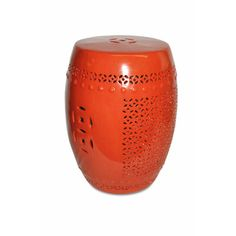 @Overstock - Add a unique touch to your home garden with this exquisite garden stool. This accent piece features a porcelain construction, a vibrant orange color, and a pierced design.http://www.overstock.com/Home-Garden/Pierced-Orange-Porcelain-Garden-Stool/7519487/product.html?CID=214117 $173.99