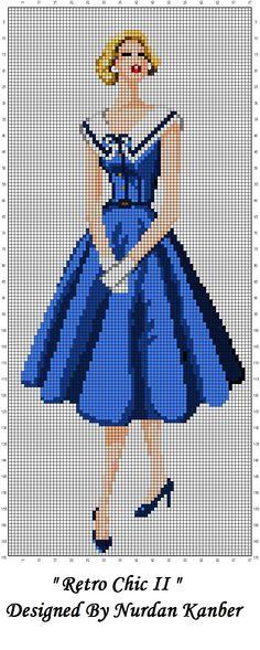 0 point de croix femme en robe bleue retro chic - cross stitch lady in blue dress