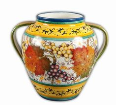 Chianti Two Handle Urn  - Sun-ripened grapes and leaves adorn this stunning hand-crafted urn. The attention to detail in this handmade, hand painted vase is indicative of the Tuscan artisanship that is so characteristic of Italian ceramics. Found at the Italian Pottery Outlet in Santa Barbara, CA