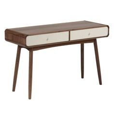 Inspired by mid-century designs, the Bowen collection playfully combines a rich walnut veneer with a contrasting white drawer front.   It's soft curves and retro design make the pieces of this extensive collection perfect to feature on their own or in combination.  Measurements: 120x45x75cm (lxwxh)  Materials: walnut veneer, solid american walnut