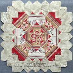 POTCInklingo Patchwork of the Crosses by Fern - NOT with English Paper Piecing - Sewing line printed with Inklingo