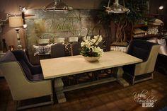 #UFDlove this Trestle #Farmhouse Table with Velvet Deconstructed Back Chairs #UFD #urbanfarmhousedesigns #farmhousetables