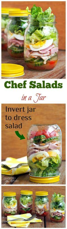 Chef-Salad-in-a-Jar are crisp romaine lettuce, fresh vegetables, ham, turkey, egg, cheese, & a tasty parmesan vinaigrette dressing.