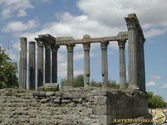 El TEMPLO ROMANO de ÉVORA ( Portugal)  del s. II-III está situado en el centro del casco antiguo; se trataría de un templo períptero, pero en la actualidad sólo nos han quedado una pequeña plataforma de sillería y cantos, la escalinata y una docena de columnas de granito con capiteles corintios y entablamento de mármol. En época medieval se convirtió en lonja y fue incorporado a los muros del castillo, utilizándose como matadero hasta 1870. No es seguro que estuviera dedicado a la diosa…
