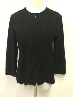 Eileen Fisher Womens Cardigan Full Zip Black Long Sleeve Size S #EileenFisher #FullZip