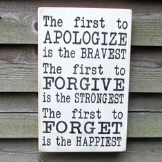 Country home decor, inspirational sign, first to apologize is the bravest, family rules primitive country d??cor. DIY home decor advice * Continue with the details at the image link. #SimpleHomeDecor