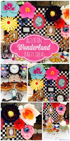 What an amazing Alice in Wonderland girl birthday party with colorful paper flowers and decorations!  See more party ideas at CatchMyParty.com!