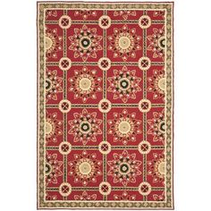 World Menagerie Noham Hand-Hooked Red/Natural Area Rug Rug Size: