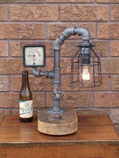 Lamp 138  Industrial Pipe Lamp  Black Pipe by LamplighterIronworks
