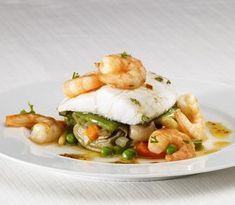 Cod with prawns and stew Salsa Verde, Bacalhau Recipes, Tapas, Cod Fish, Prawn, Soul Food, Stew, Seafood, Favorite Recipes