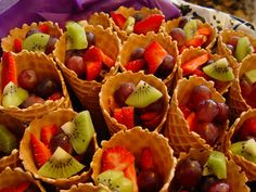 Food Option- Fruit waffle cones using only kiwi, grapes and strawberries.... Cover the inside with hersey's chocolate shell so it doesn't get soggy..... and has chocolate in it