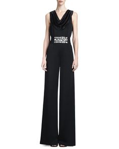 Sleeveless Milano Jumpsuit & Crystal Duchesse Belt with Elastic by St. John Collection at Neiman Marcus.