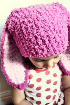 Crochet Infant baby girl raspberry pink and baby pink bunny ears. Handmade with love by Babamoon - size 3 to 6m - can be made in other sizes and colours