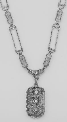 Victorian Style CZ Filigree Pendant 18 Link and Chain Necklace Sterling Silver $157.50 Silver Mine Gifts