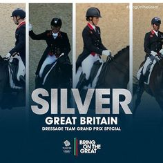 #Silver! Some superlative riding from all four sees Charlotte Dujardin, Fiona Bigwood, Carl Hester and Spencer Wilton take silver in the Dressage Team Gand Prix Special event. ##BringOnTheGreat #EquestrianDressage