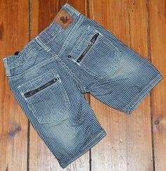 """H Geniale kurze Jeans Shorts geringelt """"used look"""""""