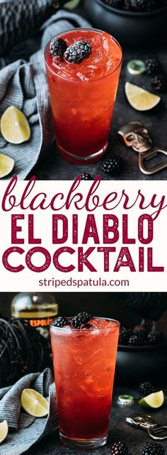 {Sponsored} Blackberry El Diablo Halloween #Cocktail | Tequila Drinks | Halloween Cocktails | Blackberry Recipes | #Halloweenrecipes #poweredbyberries @calgiantberries #tequiladrinks #cocktailrecipes #tequilacocktails