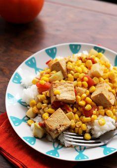 Kohlrabi, Corn and Tofu Curry