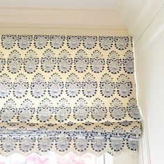 Patterned fabric roman shade with edge scalloped-cut to match pattern Bay Window Treatments, Fabric Roman Shades, Interior Styling, Interior Design, Lucy Williams, Custom Drapes, Drapery Hardware, Window Dressings