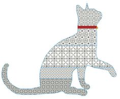 Blackwork pattern cross stiitch pattern black cat by LaMariaCha