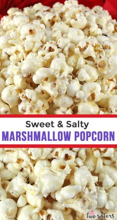 Sweet and Salty Marshmallow Popcorn - a fun and unique dessert that is sweet, cr. - Sweet and Salty Marshmallow Popcorn – a fun and unique dessert that is sweet, crunchy and delicio - Snacks Für Party, Easy Snacks, Yummy Snacks, Healthy Snacks, Delicious Desserts, Popcorn Snacks, Sweet Popcorn Recipes, Potluck Desserts, Candy Popcorn