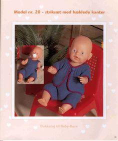 Album Archive - Dukketøj til Baby Born 2 - Ingelise Knitting Dolls Clothes, Doll Clothes Patterns, Clothing Patterns, Knit Crochet, Crochet Hats, Dolly Fashion, Baby Born, Barbie Dolls, Knitting Patterns