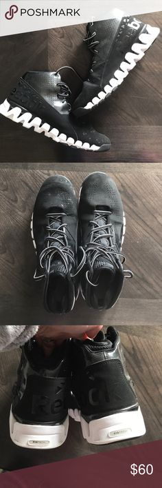 Reebok Zig Evolution Black White Shoes Size 12 Like new! My husband only wore them once and they are too big. Reebok Shoes Athletic Shoes