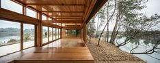 Beijing-based studio DnA Design and Architecture designed the Pine Park Pavilion, a prefab installation in Zhejiang, China that connects travelers to nature. Contemporary Architecture, Architecture Details, Rustic Contemporary, Modern, Dna Design, Park Pavilion, Tiny House Cabin, Sliding Glass Door, Prefab