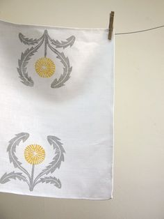 hand printed gray and yellow ochre on white dandelion linen napkins set of 4