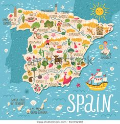 Travel infographic – Vector stylized map of Spain. Travel illustration with spanish landmarks, people, food and plants. Stylized vector map of Spain. Travel illustration with Spanish landmarks, people, food and plants. Travel Maps, New Travel, Spain Travel, Travel Posters, Travel Europe, Travel Photos, Map Design, Travel Design, Map Of Spain