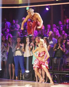 Jacoby's not the only one who can jump over people! Derek Hough and Kellie Pickler
