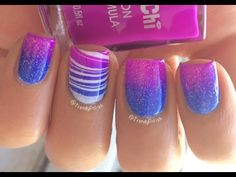 Gradient Water Marble Nail Art With Tutorial Video Purple Nail Designs, Cool Nail Designs, Softball Nails, Gem Nails, Gelish Nails, Manicures, Youtube Nail Art, Water Marble Nail Art, Gel Nail Polish Colors
